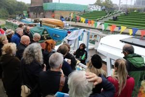 gathering at boat
